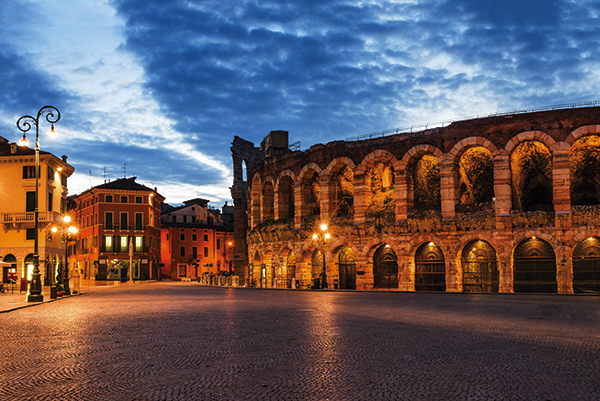 Verona amphitheatre at night