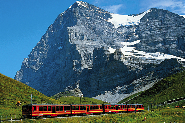 Views of the Jungfrau Railway and train, with Grindelwald scenery. TUI Lakes and Mountains