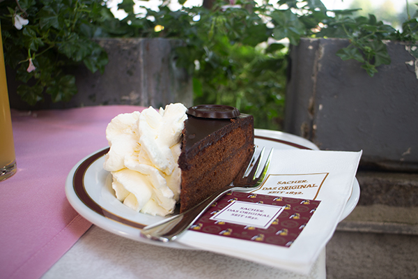Sachertorte chocolate cake in Salzburg in Austria