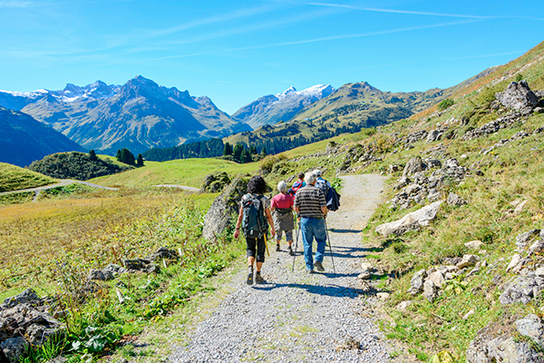 Group hike in the Austrian mountains