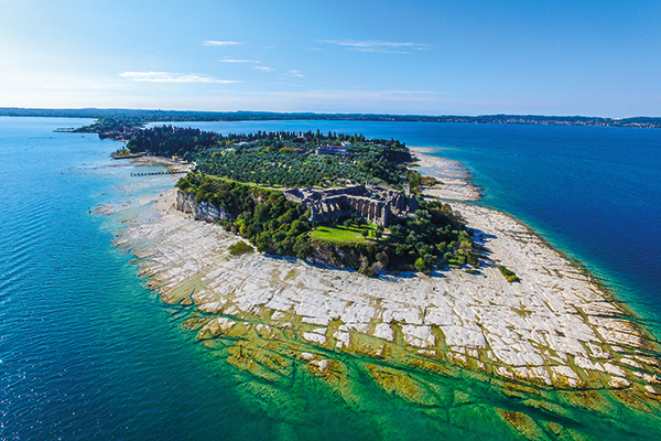 Jamaica beach and Roman ruins on Sirmione peninsula