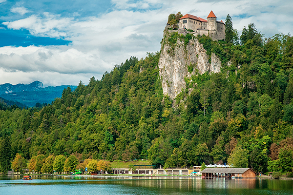 view of Grajska beach, Lake Bled