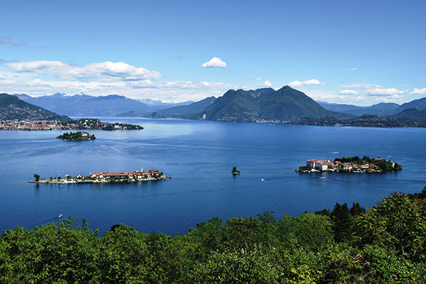 Aerial views of the Borromean Islands in Lake Maggiore, Italy