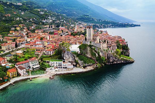Aerial view of Malcesine on Lake Garda