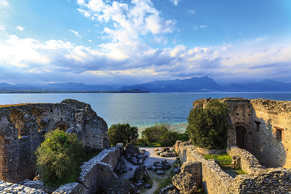 Grottoes of Catullus and Jamaica beach in Sirmione, Lake Garda, Italy