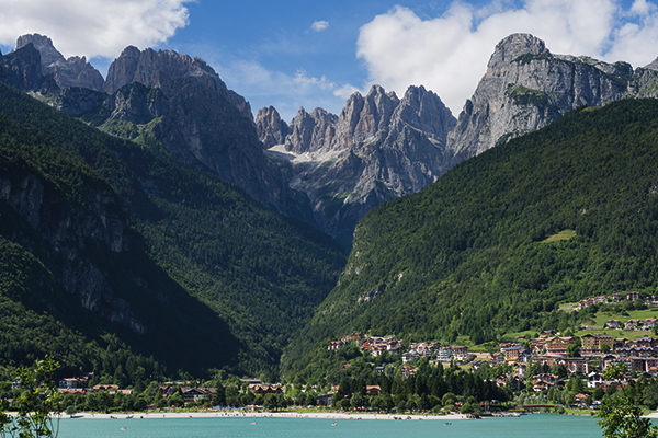 Lake, mountains and Molveno town