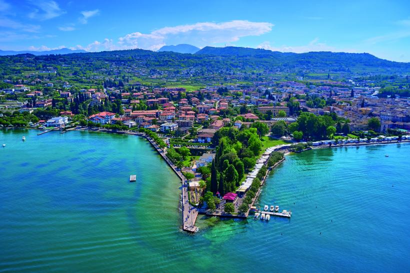 Aerial view of Bardolino on Lake Garda